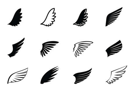 Set of Black Wings. Vector Illustration and outline Icons. Symbol of freedom.