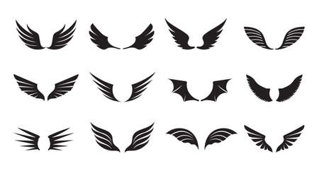 Set of Black Angel Wings. Vector Illustration and outline Icons. Symbol of freedom.