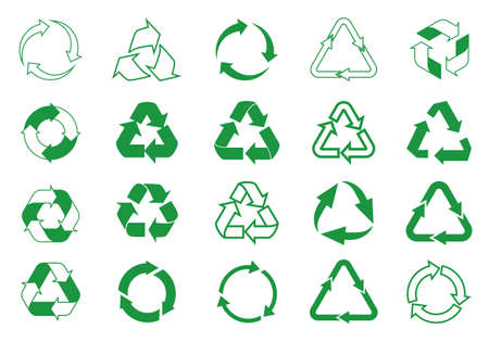 Set recycle icons. Label template. Green eco circle arrows. Vector Icons.
