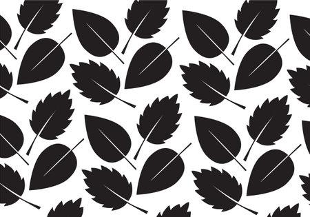 Black Leaves Pattern. Vector Illustration. Vector Pattern. Plants in garden. 向量圖像