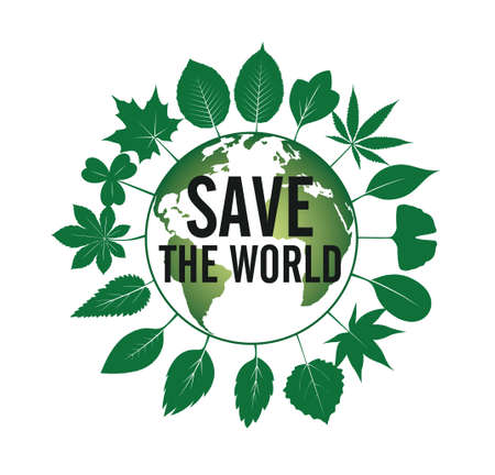 Save the World icon and emblem. Vector Illustration. Vector icon. Vector Illustration. Plant in garden.