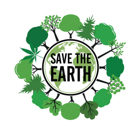Save the Earth icon and emblem. Vector Illustration. Vector icon. Vector Illustration. Plant in garden.