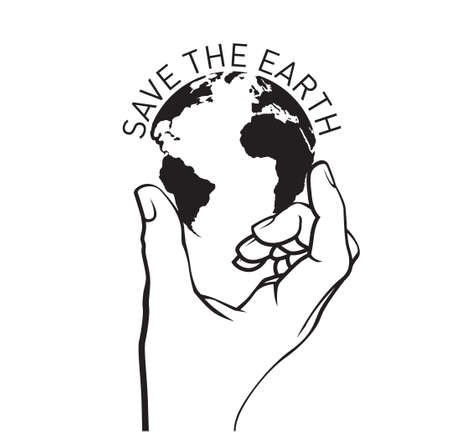 Save the Planet. Poster, icon and emblem. Vector Illustration. 向量圖像
