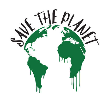 Save the Planet. Poster, icon and emblem. Vector Illustration. 矢量图像