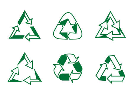 Set recycle vector icons. Label template. Eco circle arrows. Vector outline Icons.