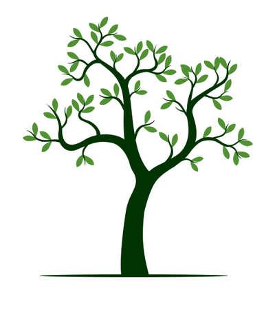 Shape of green Tree. Vector outline Illustration. Plant in Garden.