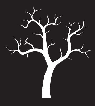 Shape of white Tree with Roots. Vector outline Illustration. Plant in Garden.