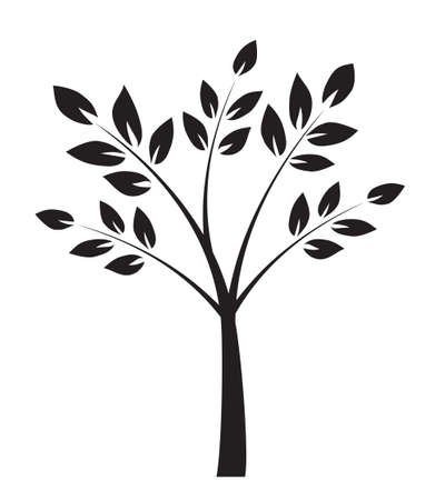 Shape of Black Tree with leaves. Vector outline Illustration. Plant in Garden.