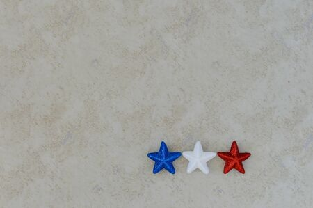 Independence Day July 4th, President's Day, Memorial Day, Labor Day, Veteran's Day, Great America. Blue, white and red stars in representation of the united states flag colors on a white background.