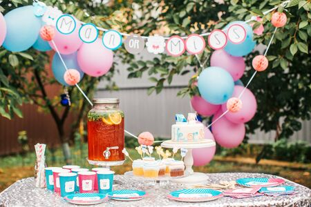 Boy or girl cake and different treats for baby shower party on table outdoors Foto de archivo