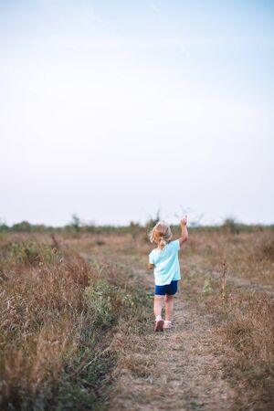 Back view of a young blond girl running happily in an open field. 写真素材