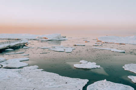 Winter coastal landscape with floating ice. Baltic sea in evening light. 版權商用圖片