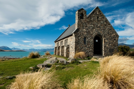Church of the Good Shepherd, Lake Tekapo, New Zealand is a popular wedding church photo