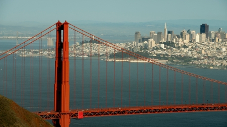 San Francisco and Golden Gate Bridge viewed from Marin Headlands Stock Photo