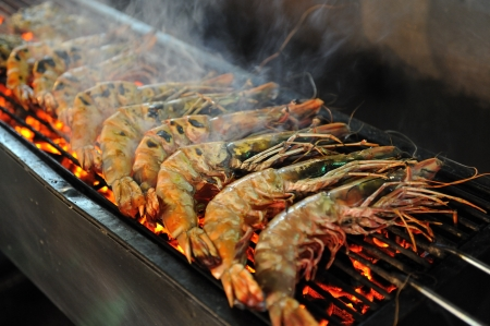 Tiger Prawn Barbecue at the night market in Hua Hin, Thailand photo