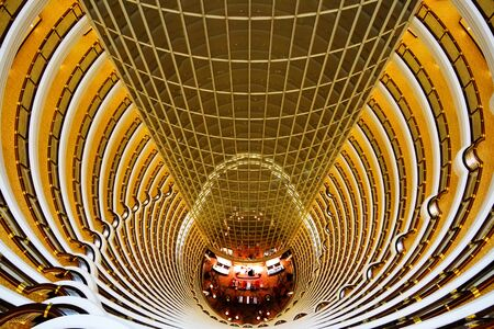 Looking down from the 85th floor in Jinmao Tower, Shanghai