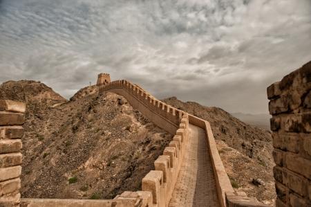 The Great Wall - het meest westelijke deel gelegen in Jiayuguan Province, China werd gebouwd tijdens de Ming-dynastie 700 jaar geleden. Stockfoto