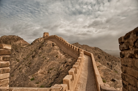 The Great Wall - the westernmost part located in Jiayuguan, Gansu Province, China was built during the Ming dynasty 700 years ago. Stock Photo