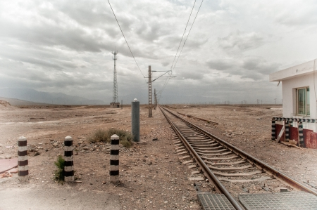 Entering Gobi Desert - railroad tracks running through Gobi desert in Gansu province, China