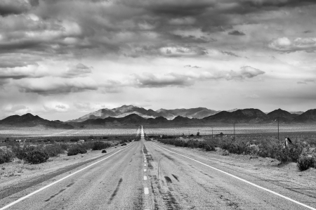 Historische Route 66 in Mojave woestijn, Californië Stockfoto