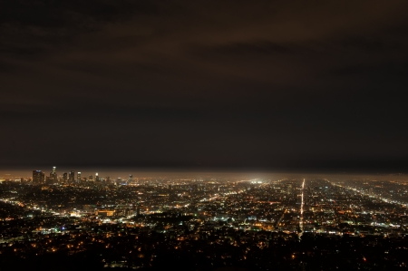 usa cityscape: Aerial view of Los Angeles by night from Griffith Observatory