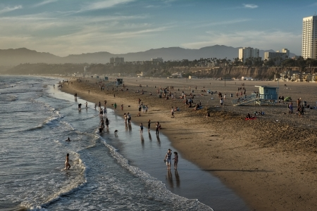 Los Angeles, USA - September 22, 2012: Santa Monica Beach on a hot but late sunny afternoon in September.