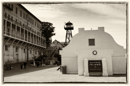 correctional: San Francisco, USA - May 3, 2012: The landing at infamous Alcatraz Island - the site of the historic maximum security prison.