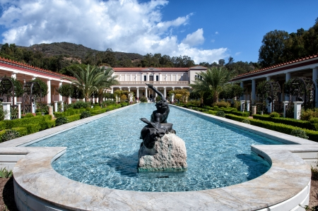 Los Angeles, USA - October 4, 2009: The Getty Villa on a sunny October day. The design of the Getty Villa was inspired by blueprints of the Villa of the Papyri at Herculaneum. Editorial