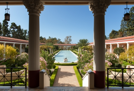 Los Angeles, USA - October 4, 2009: The Getty Villa on a sunny October day. The design of the Getty Villa was inspired by ancient blueprints of the Villa of the Papyri at Herculaneum.