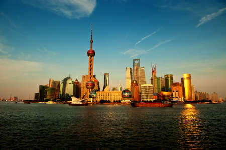 Modern China - Shanghai skyline at sunset photo