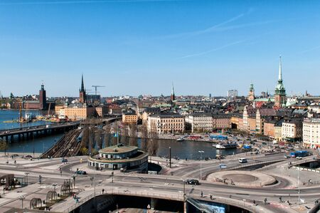nobel: Stockholm, Sweden - May 1, 2009: Aerial view of Slussen, the Old Town, Riddarholmen and the City Hall in Stockholm. The capital of Sweden hosts the Nobel prize awards in December.