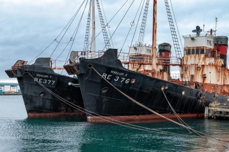 whaling: Reykjavik, Iceland - June 14, 2010: Old rusty whaling ships in the harbor of Reykjavik, Iceland.