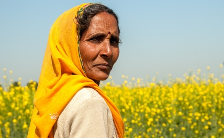 Rajasthan, India– February 3, 2011: Portrait of a proud woman walking in the countryside of Rajasthan. Rajasthani people are renown as the most colorful people in India.