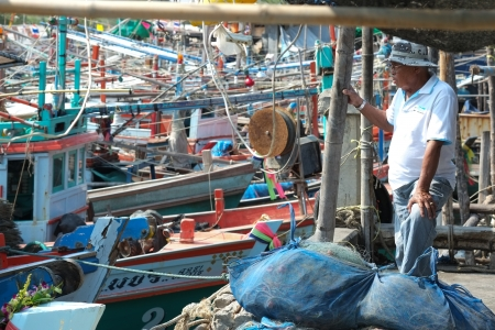 Hua Hin, Thailand - January 24, 2013: Thai fish dealer waiting for the catch at Khao Takiap fishing harbor.