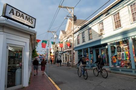 Provincetown, MA - June 18, 2010: Tranquil scene at Commercial Street on a sunny summer evening in June.