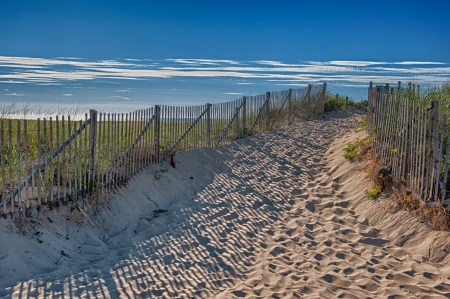 Zomer op Cape Cod - ingang van Race Point Beach Stockfoto