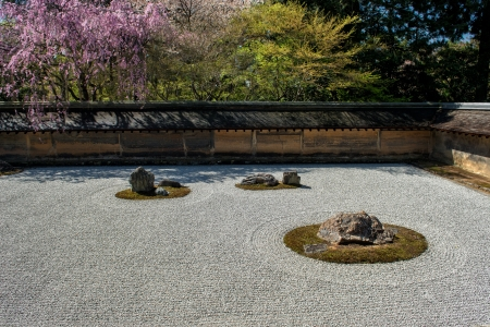 karesansui: The world famous Zen garden at Ryoan-ji Temple during early April in Kyoto, Japan.