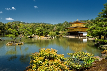 Kinkaku-ji or the Golden Pavilion Temple in Kyoto on a sunny spring day