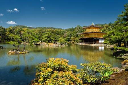 rokuonji: Kinkaku-ji or the Golden Pavilion Temple in Kyoto on a sunny spring day Editorial