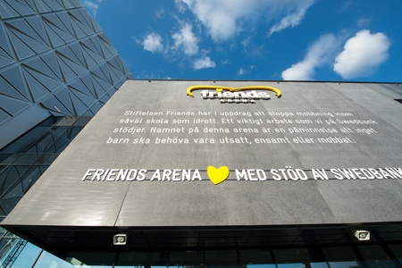 solna: Stockholm, Sweden - May 11, 2013: Detail of Friends Arena in Solna on the eve of a Springsteen concert