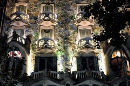 Barcelona, Spain - June 8, 2013: Casa Batll� by night. Casa Batll� is one of Antonio Gaudis world famous masterpieces.