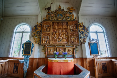 triptych: Borlange, Sweden � July 2, 2013  The altarpiece at Amsberg Chapel  The chapel was built in 1683 and the famous triptych from L�beck dates back to 1490