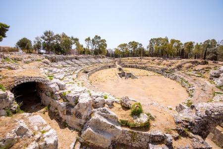 sicily: The roman amphitheater in Syracuse, Sicily, Italy