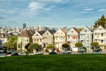 Painted ladies in San Francisco, CA viewed from Alamo Square Stock Photo