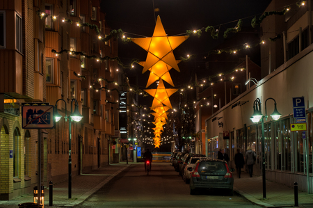Norrkoping, Sweden � December 17, 2013  Christmas decorated street in Norrkoping  Norrkoping, a historic industrial town and a center of education, is illuminated during Christmas time