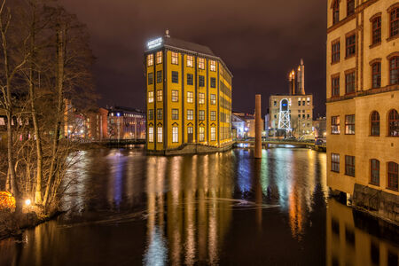 Christmas atmosphere in the old Industrial landscape of Norrkoping, Sweden