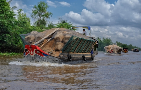convoy: Vinh Long, Vietnam - March 7, 2009  Convoy of traditional colorful riverboats carrying rice straw on Mekong river near Vinh Long  The Mekong river is a major route for transportation in Southeast Asia