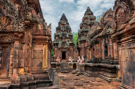 Banteay Srei - a 10th century Hindu temple dedicated to Shiva  The temple built in red sandstone was rediscovered 1814 in the jungle of the Angkor area of Cambodia