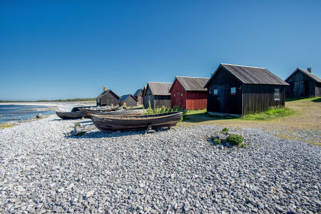 Helgumannens fishing village on Faro island in the Baltic sea