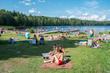 Norrkoping, Sweden � July 26, 2014  People enjoy a hot sunny day by a lake in Norrkoping  July month is turning out to be one of the hottest in Sweden for decades